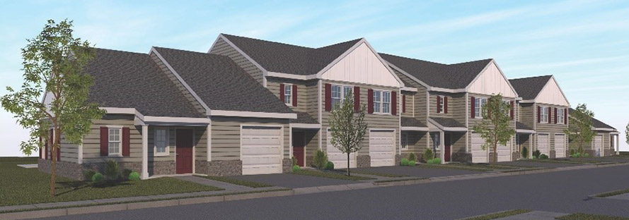 Artist rendering of future York County townhomes